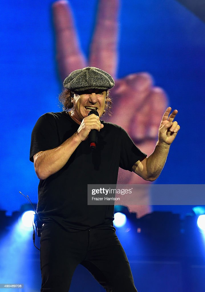 Brian Johnson of AC/DC Performs At Dodger Stadium at Dodger Stadium on September 28, 2015 in Los Angeles, California.