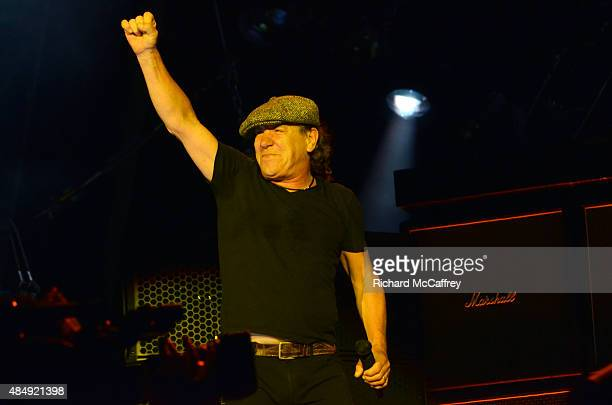 Brian Johnson of AC/DC performs at Gillette Stadium on August 22 2015 in Foxboro Massachusetts