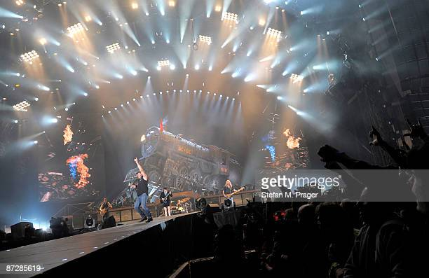 Brian Johnson of AC/DC performs at Munich Olympiastadion on May 15 2009 in Munich Germany