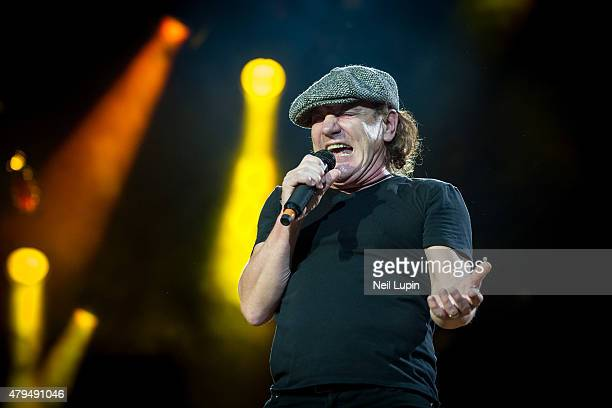 Brian Johnson of AC/DC performs at Wembley Stadium on July 4 2015 in London United Kingdom