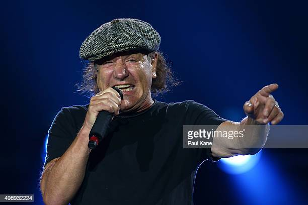 Brian Johnson of AC/DC performs during their 'Rock or Bust' World Tour at Domain Stadium on November 27 2015 in Perth Australia
