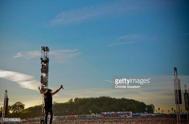 Brian Johnson of AC/DC performs on stage at Download Festival on June 11 2010 in Donington UK