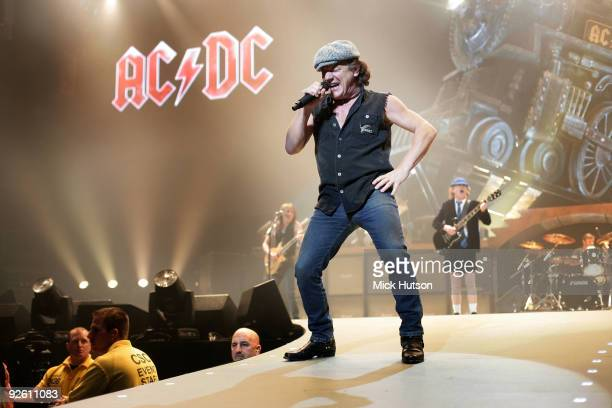 Brian Johnson of AC/DC performs on stage at the Verizon Center in during their 'Black Ice' Tour on November 15th 2008 in Washington DC United States