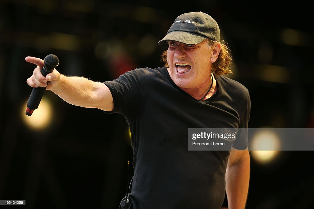 Brian Johnson of AC/DC performs on stage during a media call ahead of their 'Rock or Bust' world tour at ANZ Stadium on November 3, 2015 in Sydney, Australia.