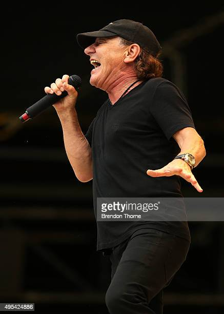 Brian Johnson of AC/DC performs on stage during a media call ahead of their 'Rock or Bust' world tour at ANZ Stadium on November 3 2015 in Sydney...
