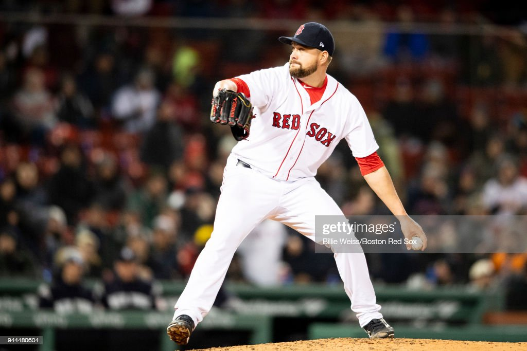 Brian Johnson #61 of the Boston Red Sox delivers during the ninth inning of a game against the New York Yankees on April 10, 2018 at Fenway Park in Boston, Massachusetts.