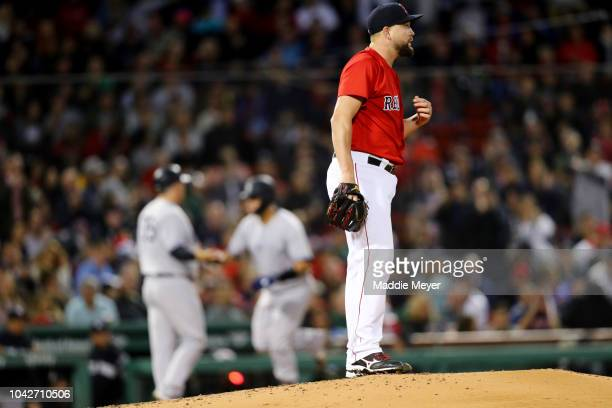 Brian Johnson of the Boston Red Sox reacts after Justus Sheffield of the New York Yankees hit a home run during the third inning at Fenway Park on...