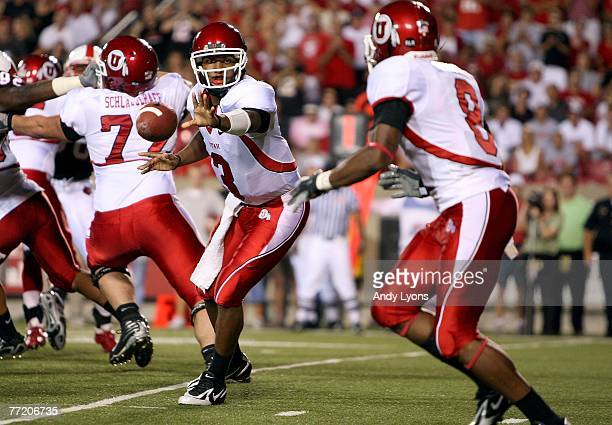 Brian Johnson of the Utah Utes pitches the ball to Elijah Wesson during action against the Louisville Cardinal during the game on October 5 2007 at...