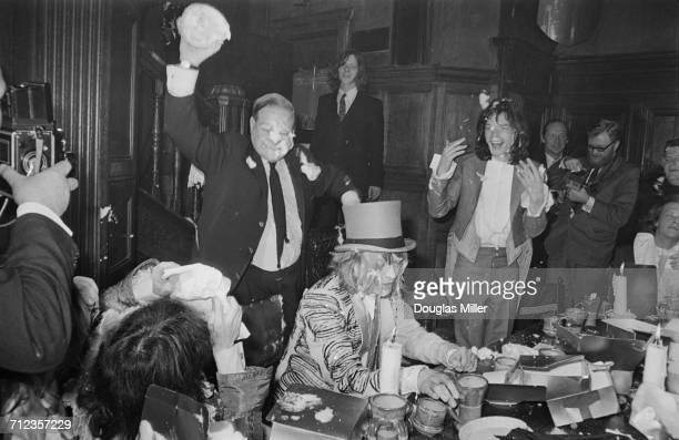 Brian Jones of The Rolling Stones about to receive a custard pie during a mockmedieval banquet at the Kensington Gore Hotel staged for the launch of...