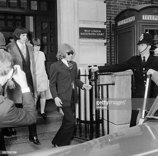 Brian Jones of The Rolling Stones leaving court with Prince Stanislaus Klossowski de Rola, a.k.a 'Stash' after being remanded on bail. 11th May 1967.