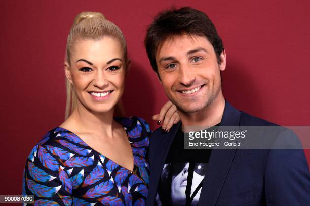 Brian Joubert and Katrina Patchett poses during a portrait session in Paris France on