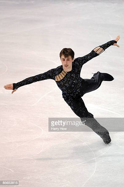Brian Joubert of France competes in the Men's Free Skate during the 2009 ISU World Figure Skating Championships on March 26 2009 at Staples Center in...