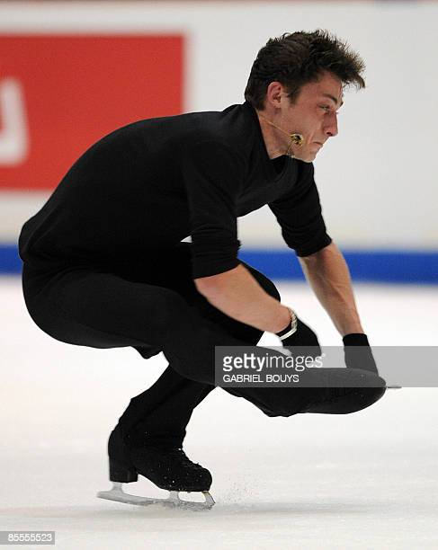 Brian Joubert of France practices two days before the 2009 World Figure Skating Championships at the Staples Center in Los Angeles California on...