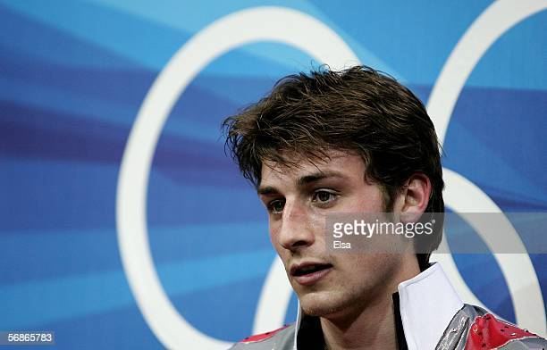 Brian Joubert of France reacts after receiving his scores for the Men's Free Skate Program Final during Day 6 of the Turin 2006 Winter Olympic Games...