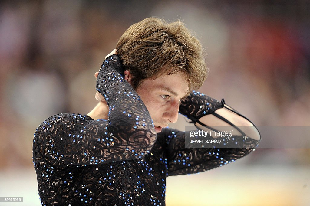 Brian Joubert of France reacts after the : News Photo