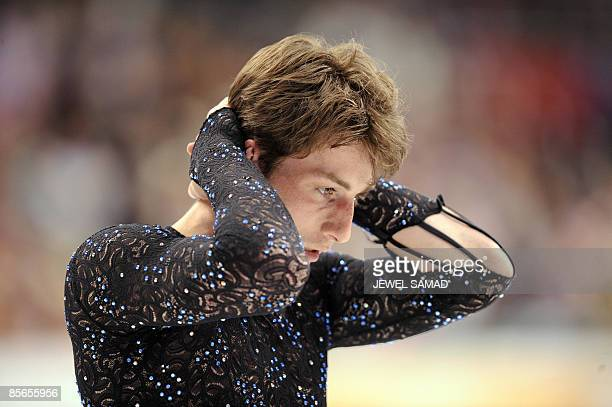 Brian Joubert of France reacts after the Men's Free Skating event of the 2009 World Figure skating Championships at the Staples Center in Los Angeles...