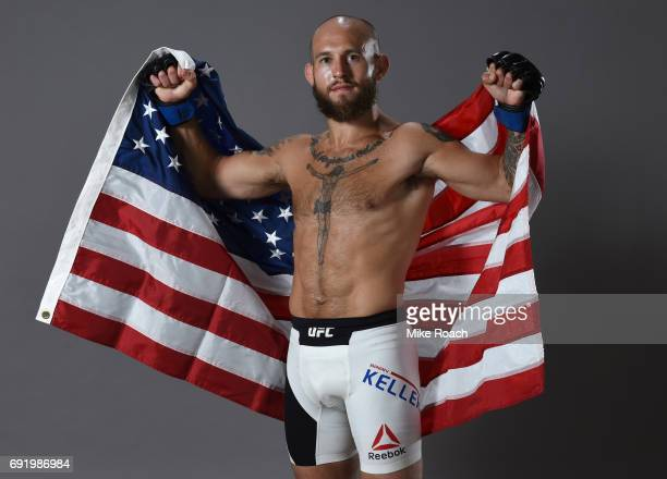 Brian Kelleher poses for a portrait backstage after his submission victory over Iuri Alcantara during the UFC 212 event at Jeunesse Arena on June 3...
