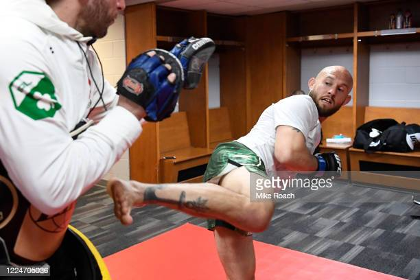 Brian Kelleher warms up backstage during the UFC Fight Night Event at VyStar Veterans Memorial Arena on May 13 2020 in Jacksonville Florida