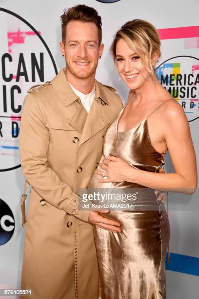 Brian Kelley and Brittney Marie Cole attend the 2017 American Music Awards at Microsoft Theater on November 19 2017 in Los Angeles California