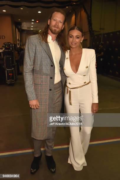 Brian Kelley and Brittney Marie Cole attend the 53rd Academy of Country Music Awards at MGM Grand Garden Arena on April 15 2018 in Las Vegas Nevada