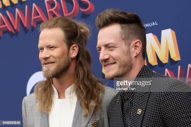 Brian Kelley and Tyler Hubbard attend the 53rd Academy of Country Music Awards at MGM Grand Garden Arena on April 15 2018 in Las Vegas Nevada