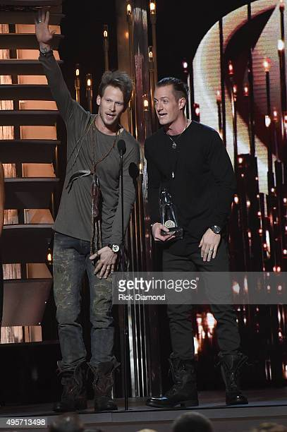 Brian Kelley and Tyler Hubbard of Florida Georgia Line accept the award for Vocal Duo of the Year onstage at the 49th annual CMA Awards at the...