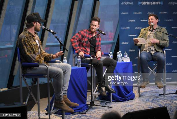 Brian Kelley and Tyler Hubbard of Florida Georgia Line and Storme Warren visit SiriusXM Studios on February 12 2019 in Nashville Tennessee