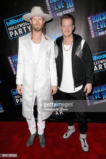 Brian Kelley and Tyler Hubbard of Florida Georgia Line attend Dick Clark's New Year's Rockin' Eve with Ryan Seacrest 2018 on December 31 2017 in Los...