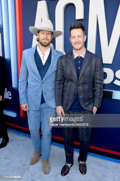 Brian Kelley and Tyler Hubbard of Florida Georgia Line attend the 54th Academy Of Country Music Awards at MGM Grand Hotel Casino on April 07 2019 in...