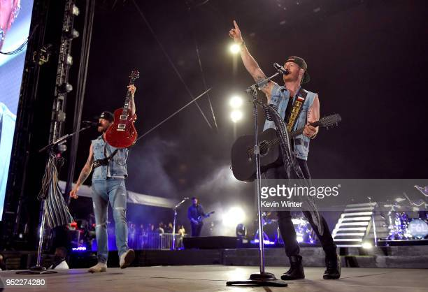 Brian Kelley and Tyler Hubbard of Florida Georgia Line perform onstage during 2018 Stagecoach California's Country Music Festival at the Empire Polo...