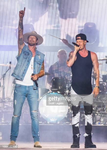 Brian Kelley and Tyler Hubbard of Florida Georgia Line perform at Faster Horses Festival at Michigan International Speedway on July 22 2018 in...