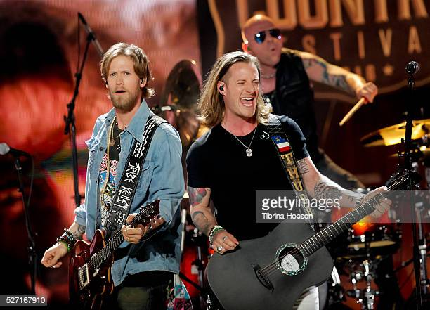 Brian Kelley and Tyler Hubbard of Florida Georgia Line perform at 2016 iHeartCountry Festival at The Frank Erwin Center on April 30 2016 in Austin...