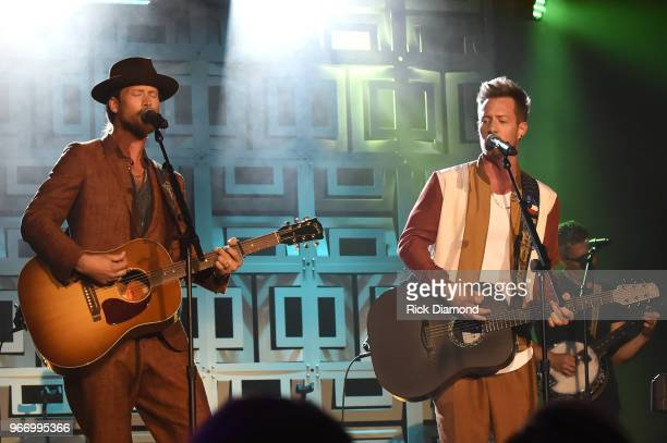 Brian Kelley and Tyler Hubbard of Florida Georgia Line perform onstage at the Innovation In Music Awards on June 3 2018 in Nashville Tennessee