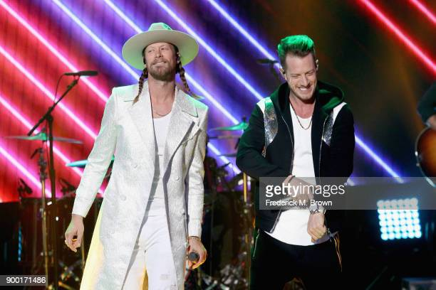 Brian Kelley and Tyler Hubbard of Florida Georgia Line perform onstage during Dick Clark's New Year's Rockin' Eve with Ryan Seacrest 2018 on December...