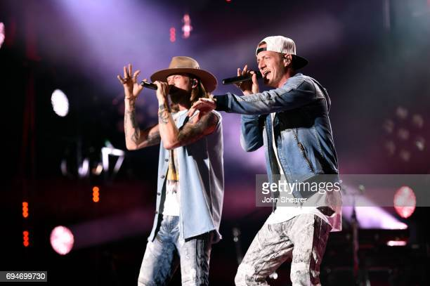 Brian Kelley and Tyler Hubbard of Florida Georgia Line perform onstage of day 3 at the 2017 CMA Music Festival on June 10 2017 in Nashville Tennessee