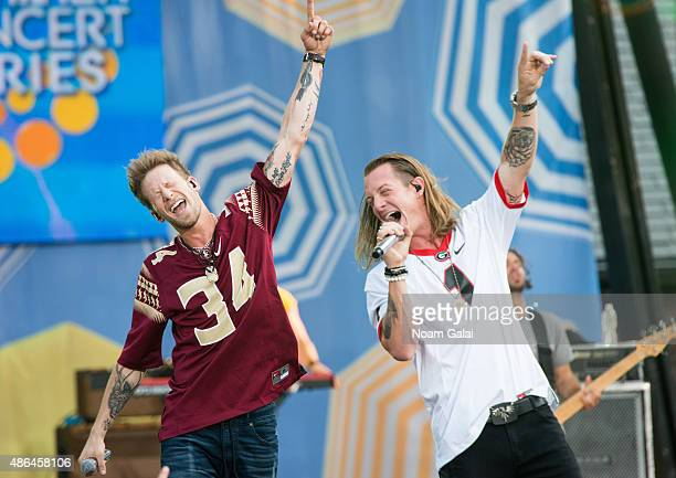 Brian Kelley and Tyler Hubbard of Florida Georgia Line perform on ABC's Good Morning America at Rumsey Playfield Central Park on September 4 2015 in...