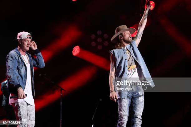 Brian Kelley and Tyler Hubbard of Florida Georgia Line performs during day 3 of the 2017 CMA Music Festival on June 10 2017 in Nashville Tennessee