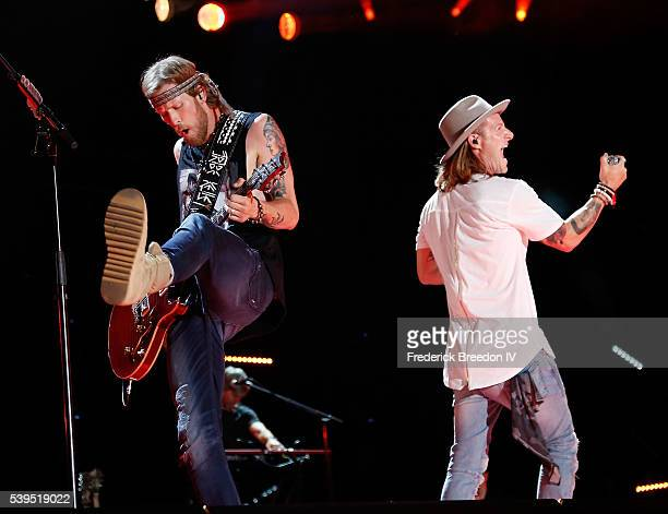 Brian Kelley and Tyler Hubbard of Florida Georgia Line performs during the CMA Fest at Nissan Stadium on June 11 2016