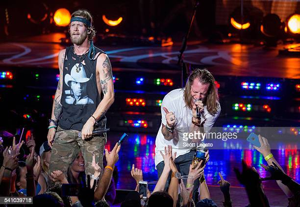Brian Kelley and Tyler Hubbard of Florida Georgia Line performs during the Dig Your Roots Tour 2016 at DTE Energy Center on June 17 2016 in Clarkston...