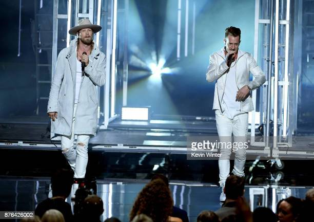Brian Kelley and Tyler Hubbard of music group Florida Georgia Line perform onstage during the 2017 American Music Awards at Microsoft Theater on...