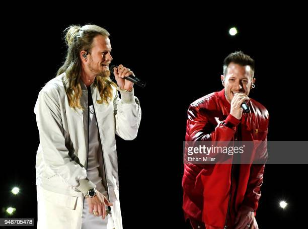 Brian Kelley and Tyler Hubbard of musical group Florida Georgia Line perform onstage during the 53rd Academy of Country Music Awards at MGM Grand...