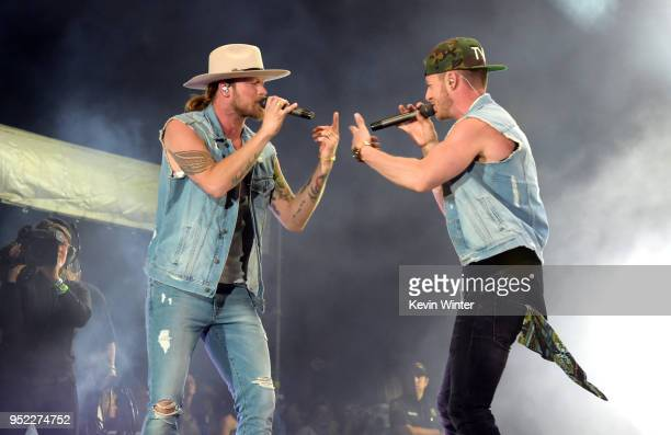 Brian Kelley and Tyler Hubbard of musical group Florida Georgia Line perform onstage during 2018 Stagecoach California's Country Music Festival at...