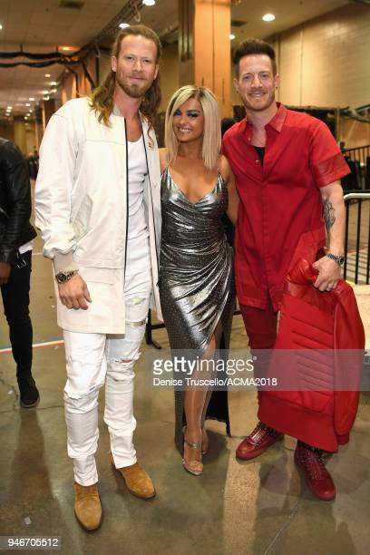 Brian Kelley Bebe Rexha and Tyler Hubbard attend the 53rd Academy of Country Music Awards at MGM Grand Garden Arena on April 15 2018 in Las Vegas...