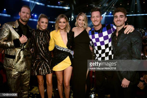 Brian Kelley Brittney Marie Cole Kelsea Ballerini Hayley Stommel Tyler Hubbard and Andrew Taggart of The Chainsmokers attend the 2018 American Music...