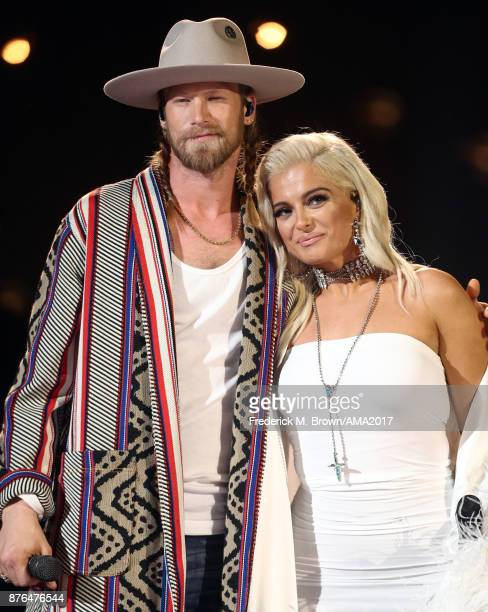 Brian Kelley of Florida Georgia Line and Bebe Rexha perform onstage during the 2017 American Music Awards at Microsoft Theater on November 16 2017 in...