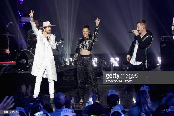 Brian Kelley of Florida Georgia Line Hailee Steinfeld and Tyler Hubbard of Florida Georgia Line perform onstage during Dick Clark's New Year's...