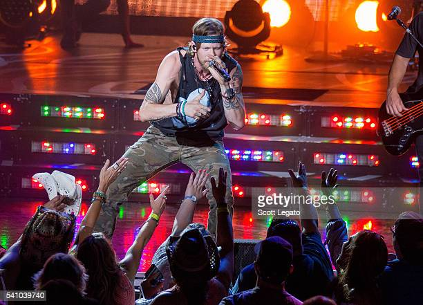 Brian Kelley of Florida Georgia Line performs during the Dig Your Roots Tour 2016 at DTE Energy Center on June 17 2016 in Clarkston Michigan