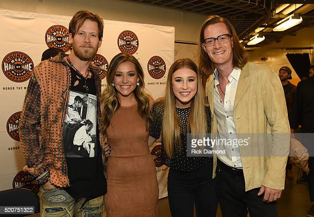 Brian Kelley of Florida Georgia Line Taylor Dye and Madison Marlow of Maddie Tae and Tyler Hubbard of Florida Georgia Line attend All For The Hall at...