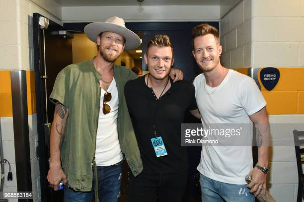 Brian Kelley of musical duo Florida Georgia Line Nick Carter of musical group Backstreet Boys and Tyler Hubbard of musical duo Florida Georgia Line...