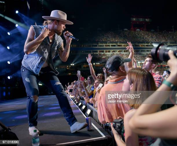 Brian Kelley of musical duo Florida Georiga Line performs onstage during the 2018 CMA Music festival at Nissan Stadium on June 10 2018 in Nashville...